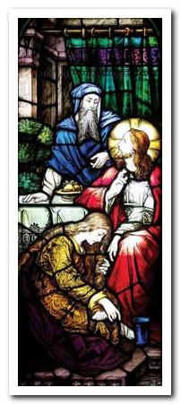 """""""Întorcându-se către femeie, Isus i-a spus lui Simon: Vezi femeia aceasta?…mi-a udat picioarele cu lacrimi și mi le-a șters cu părul ei; …de când a intrat, nu a încetat sămi sărute picioarele; …mi-a uns picioarele cu miresme. De aceea îți spun: i s-au iertat păcatele ei cele multe, pentru că a iubit mult; însă cui i se iartă puțin, iubește puțin."""""""